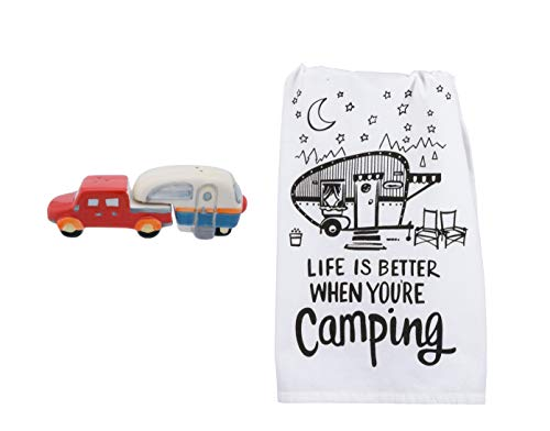 (Truck and Camper Salt and Pepper Shakers with Camping Kitchen Towel Bundle)