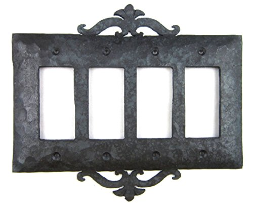 Rustic Spanish Scroll Wrought Iron Switch Plate Cover 4 Gang GFI Decora Quad (Spanish Scroll)