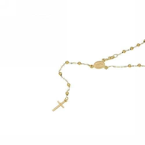 grande vendita 15e4d 98312 Collana Rosario con grani lucidi in oro giallo 18kt: Amazon ...
