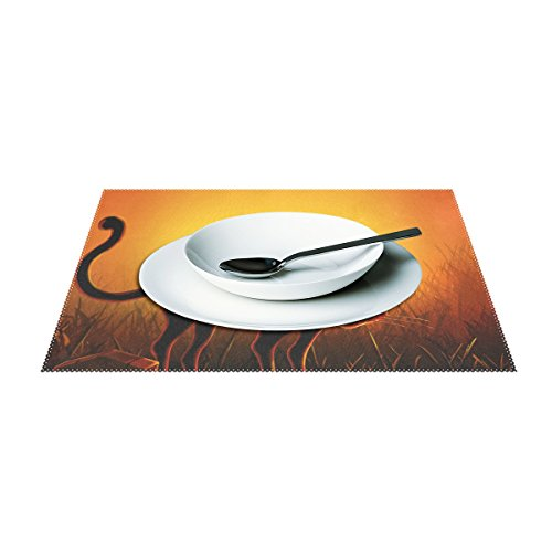 Halloween Black Cat Print Placemats, ALIREA Heat-resistant Placemats Stain Resistant Anti-skid Washable Polyester Table Mats Non Slip Easy Clean Placemats, 12''x18'', Set of 4 by ALIREA (Image #2)'