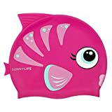 SunnyLIFE Kids Swim Cap - Fishy Silicone Swimming Cap for Children - Fishy Pink
