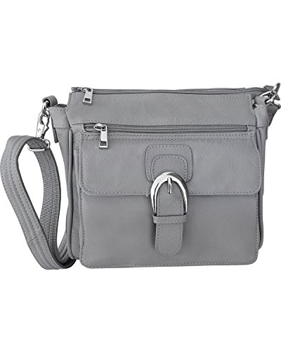 Genuine Leather Pistol Concealment CCW Purse with Buckle, Gray