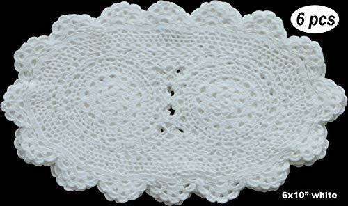 Creative Linens 6PCS 6x10 OVAL Fine Crochet Lace Doily WHITE 100% Cotton Handmade, Set of 6 Pieces -