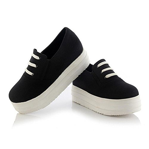 Summerwhisper Damesschoen Met Ronde Neus Op Canvas Platform Schoenen Lage Top Casual Loafers Sneakers Zwart