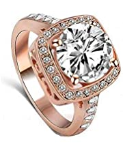18K Rose Gold Plated swiss zircon genuine austrian Clear crystal Wedding engagement Rings-R120