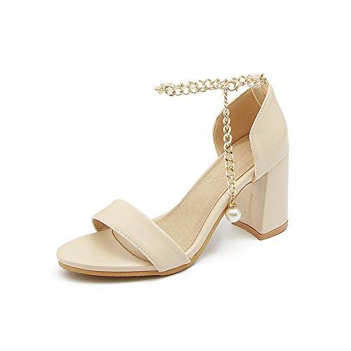 En el verano la terraza con high-heel-toe código de tamaño correas sandalias femenino apricot
