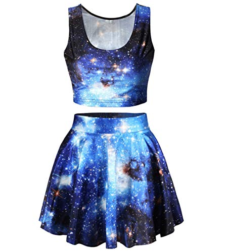 Abby Berny Womens Galaxy Print Crop Tank Top and A Line Flared Skirt Set One Size