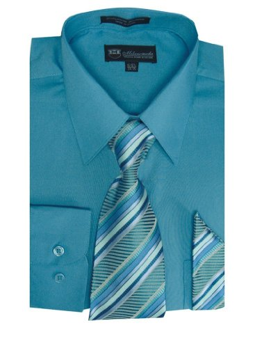 Milano Moda Men's Long Sleeve Dress  With  Tie And Handkie SG21A-Turquoise-17-17 -