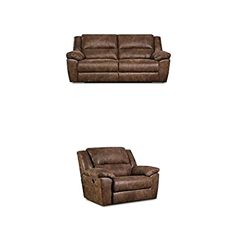 Simmons Upholstery Phoenix 2 pc Living Room Set with Double Motion Sofa and Cuddler Recliner , - Upholstery Living Room Furniture