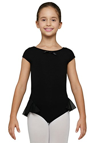 Fire Dancing Costumes (Mdnmd Girls' Leotard For Ballet With Cap Sleeve by Mndmd (Tag 120 - Age 4-6, Black))