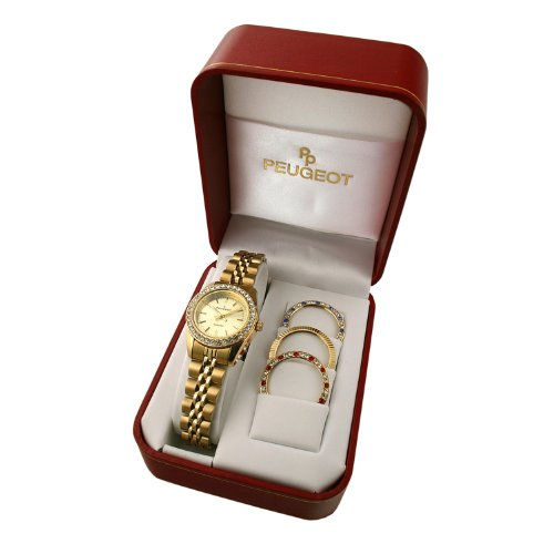 Bezel Watch Peugeot (Peugeot Women's Gold-Tone Bracelet Watch with Four Bezel Covers)