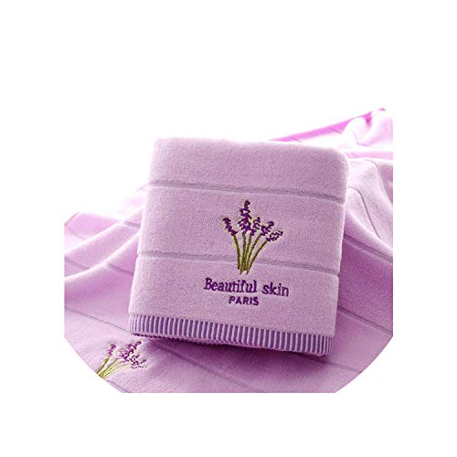 (Ches Purple Lavender Embroidered Towels Cotton Large Bath Towel Soft Absorbent Beach Face Towel Set for Women,Purple,1Pc 70X140 1Pc 34X75 )