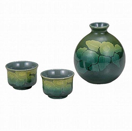 Japanese Traditionalセラミック九谷焼。Sake TOKKURIボトルとSakeカップ。Sake Set。シルバーJapanese Camellia。With Paper Box。ktn-k5 – 1172 B0742HB56X