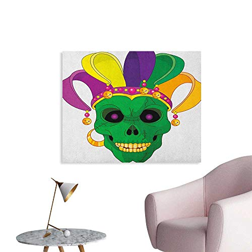 Anzhutwelve Mardi Gras Wallpaper Scary Looking Green Skull Mask with Carnival Hat Beads and Earring Cartoon Style Poster Print Multicolor W32 -