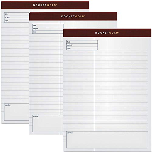 (TOPS Docket Gold Planning Pad, Wide Rule, 8.5 x 11.75 Inches, White, 40-Sheet Pads (12 Pads per Pack))
