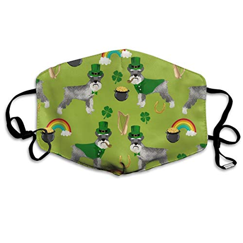 Schnauzer Leprechaun - Dog St Patricks Day Rainbow Pot of Gold Design - Lime Anti Dust Mask Anti Pollution Washable Reusable Mouth -