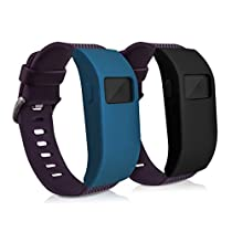 kwmobile 2in1 set: 2 x Sport bracelet case for Fitbit Charge / Charge HR without tracker in black dark blue