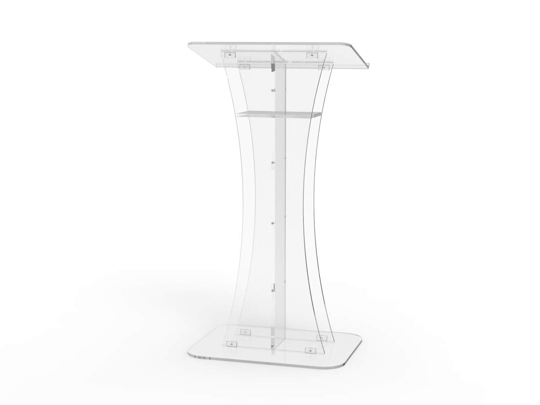 FixtureDisplays Plexiglass Acrylic Podium Clear Lectern Church Pulpit 1803-311-NEW! by FixtureDisplays