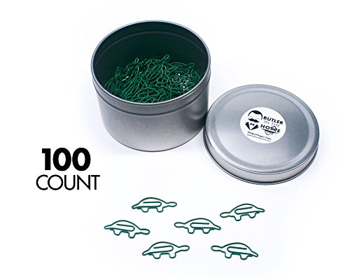 Butler in the Home Turtle Shaped Paper Clips Great For Paper Clip Collectors or Office Gift - Comes in Round Tin with Lid and Gift Box (100 Count Green) by Butler in the Home (Image #9)