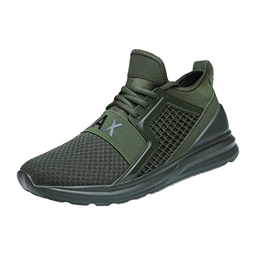 Men's Outdoor Mesh Breathable Running Shoes,YuhooSun Non-Slip Lace-Up Damping Cushioning Wear Resistant Sneakers Army Green