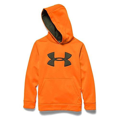 Under Armour Youth Camo Big Logo Hoody Blaze Orange / Greenhead Large ()