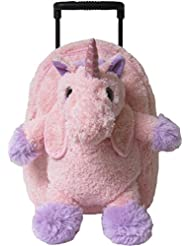 Kreative Kids Adorable Pink Unicorn Plush Rolling Backpack w/ Shiny Eyes, Removable Stuffed Toy & Wheels