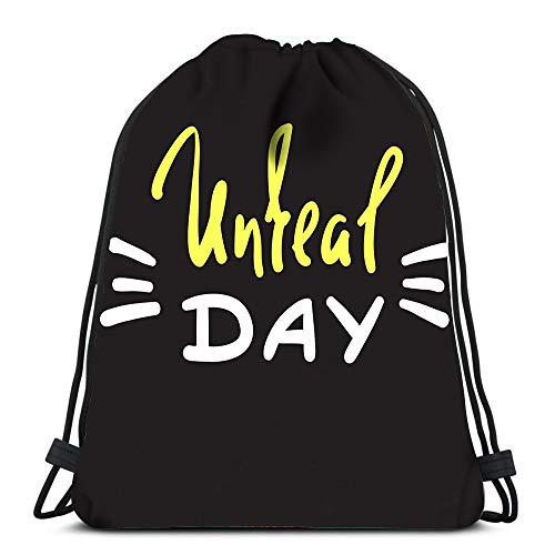 Drawstring Backpack Unreal Day Emotional Fancy Quote American Slang Urban Dictionary Laundry Bag Gym Yoga ()
