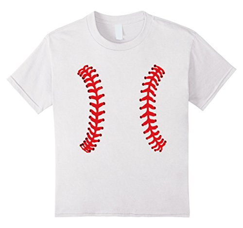 Kids Baseball Costume T-Shirt bat-and-ball game batting fielding 6 White