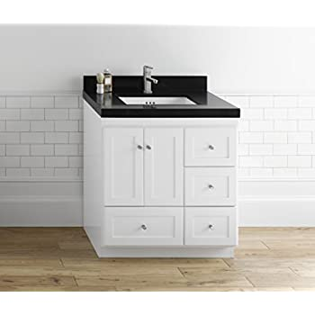 Ronbow essentials shaker 30 inch bathroom vanity cabinet base in white finish with soft close for Bathroom vanities 30 inch with drawers