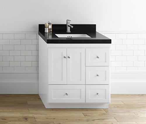RONBOW ESSENTIALS Shaker 30 Inch Bathroom Vanity Cabinet Base in White Finish, with Soft Close Wood Doors on Left and Full Extension Drawers 081930-3L-W01 (Shaker W01 Vanity White Wood)