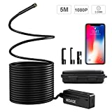 NIDAGE 1080P Semi-Rigid Wireless Endoscope 2.0 MP HD WiFi 5.5MM Borescope Inspection Camera with 16.4FT Cable Compatible Android and iOS Smartphone, iPhone (with Carrying Box)