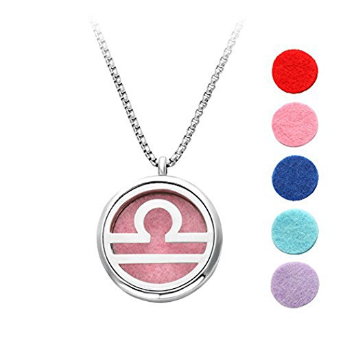 Elegant Yoga Aromatherapy Essential Oil Diffuser Necklace Pendant - 5 Refill Washable Pads - Unique Fitness Locket Pendant - Best Mother's Day Girls Ladies Jewelry Gift
