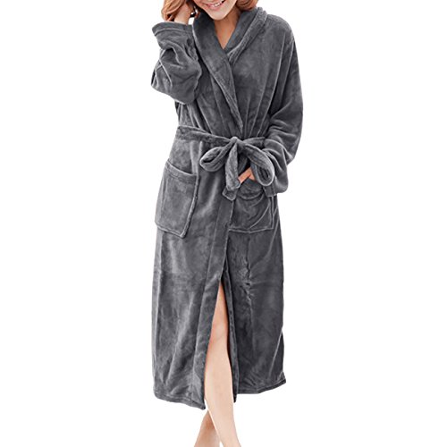 0d397d0dcf ShiyiUP Womens Mens Fleece Robe Soft Plush Bathrobe Long Warm