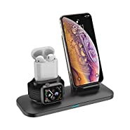3 in 1 Wireless Charger Station Stand Pad for iPhone X/XS/XR/8/7/6s/Plus,Apple Watch Charger for Apple Watch 4/3/2/1 Airpods Charging Dock Stand for airpods 1 2