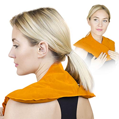 Premium Shoulder Hot and Cold Pack with Korean Clay - Unique, Long Lasting Warm or Ice Cold Therapy. Reusable, Microwave Heated and Very Comfortable (by Orange Physio)