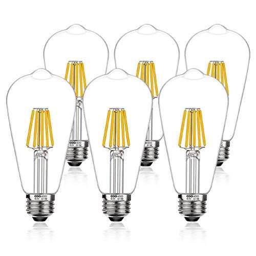 LED Edison Light Bulbs, 60W Equivalent Dimmable E26 LED Light Bulbs, UL-Listed Vintage Filament Light Bulbs for Pendant Lights, 2700K Warm White 6W Pack of 6 (Bulb Light Lights Pendant)