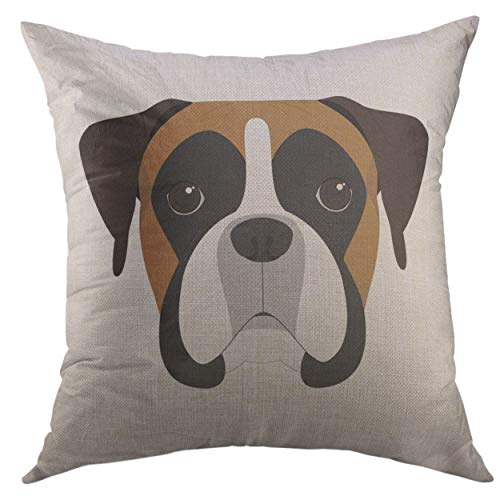 - Mugod Pillow Cases Puppy Boxer Dog White Face Throw Pillow Cover for Men Women Boys Cushion Cover 20x20 inch