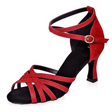XIAMUO Nicht anpassbar - Die Frauen tanzen Schuhe funkelnden Glitter funkelnden Glitter Latein Sandalen entzündete Ferse Praxis/Innen-/PerformanceBlack/, Braun, US 8 / EU 39/UK6/CN 39