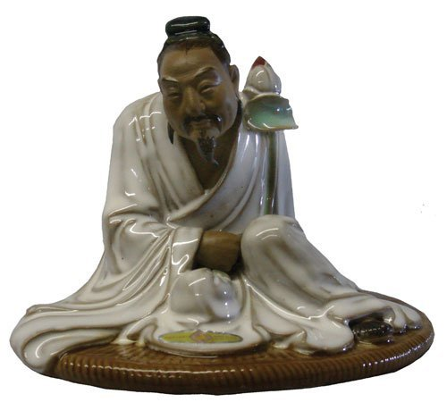 Oriental Figure in White with Lotus Blossom - Hand Glazed Shiwan - Fisherman Figurine Chinese