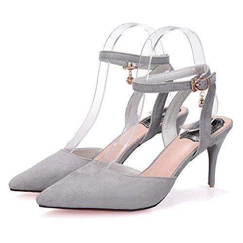 GRRONG Zapatos De La Mujer La Palabra Sandalias Del Ante De Los Zapatos De Tacón Alto Finos Con Cabeza Puntiaguda Grey