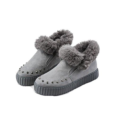 Giy Womens Mocka Päls Fodrade Snö Boots Vinter Varm Rund Tå Platta Nitar Halka På Mode Snö Boot Grå