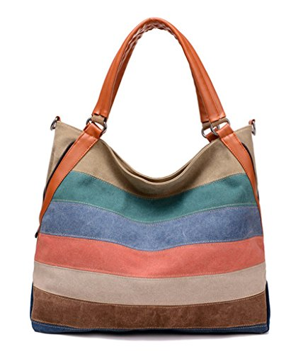 Simple Color Block Women Canvas Shoulder Bag - 9