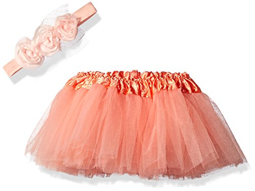 ABG Accessories Baby Rosette Headband and Tutu Set, Coral, 0-12 Months