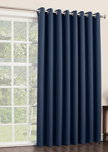 sun zero easton blackout patio door curtain panel 100 x 84 navy blue general general. Black Bedroom Furniture Sets. Home Design Ideas