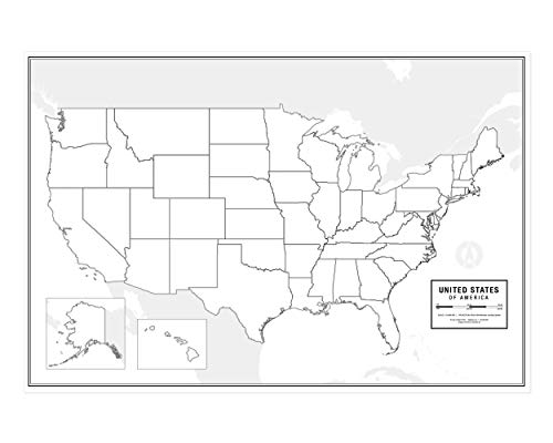 Large Blank United States Outline Map Poster, Laminated, 36