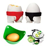 Egg Tray Sumo eggs'Cup Silicon Egg Cup Holders Red and Black with a Free Egg Poacher(Set of 3)