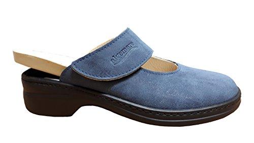 Algemare Damen Clogs Blau Pantolette Aus Leder von Größe 36 bis 43 Blau