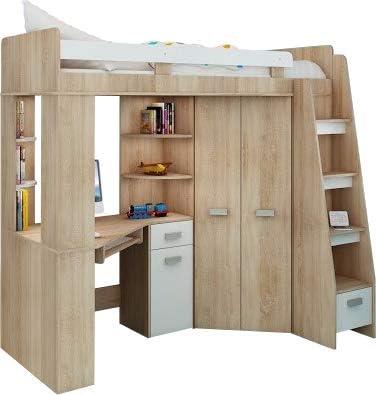 Juego de muebles infantiltodo en uno, escaleras en la parte derecha,cama alta con escalera,armario, estantes, escritorio: Amazon.es: Hogar