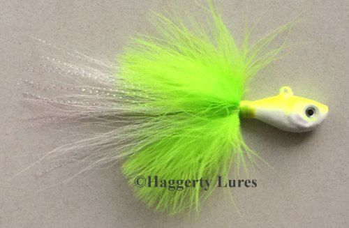 Marabou Bucktail Jig - Ultra Minnow Fish Head - 2oz to 8oz - Saltwater (Glow Chartreuse/White, 4oz) ()