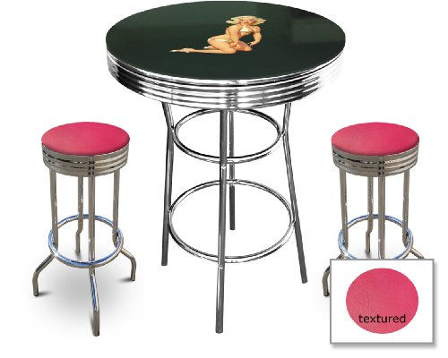 Marilyn Monroe Themed Bar Table Set - Black Bar Table with Glass Table Top Surface and 2 Chrome 29'' Swivel Seat Bar Stools by The Furniture Cove